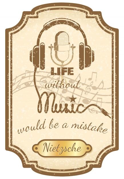 Cartel retro de música en vivo. vector gratuito