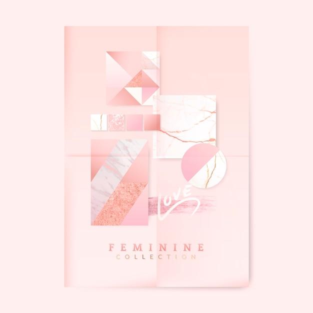 Cartel rosa femenino vector gratuito