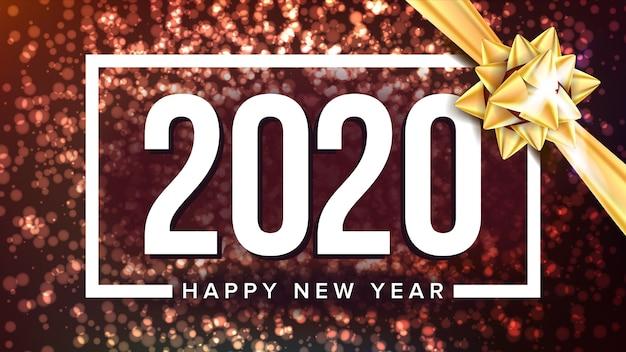 Cartel de saludo de vacaciones de feliz año nuevo 2020 Vector Premium