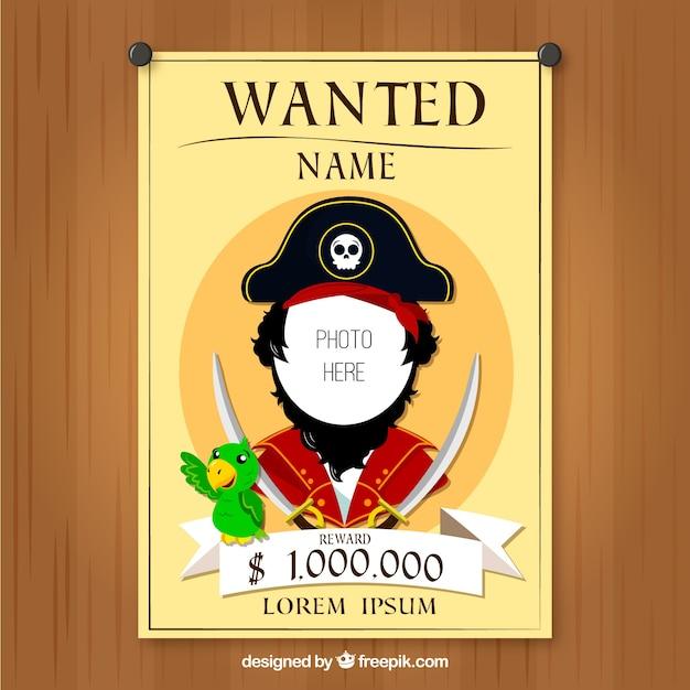 Cartel se busca con diseño de pirata   Descargar Vectores gratis