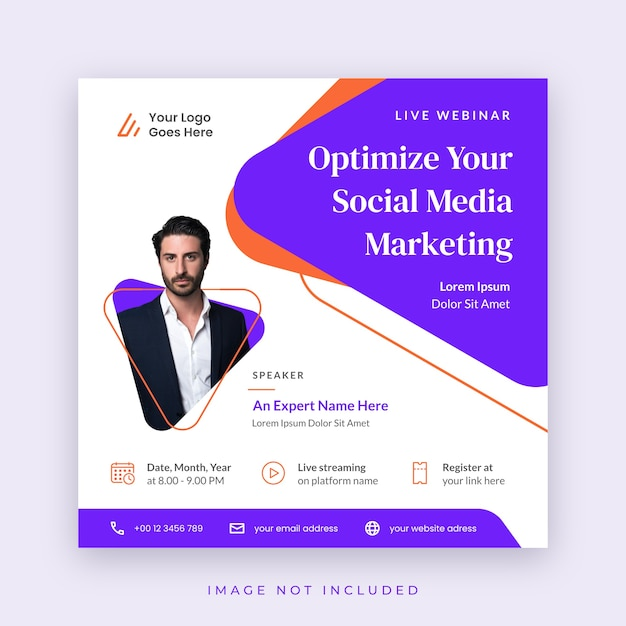 Cartel de seminario web de plantilla de redes sociales Vector Premium