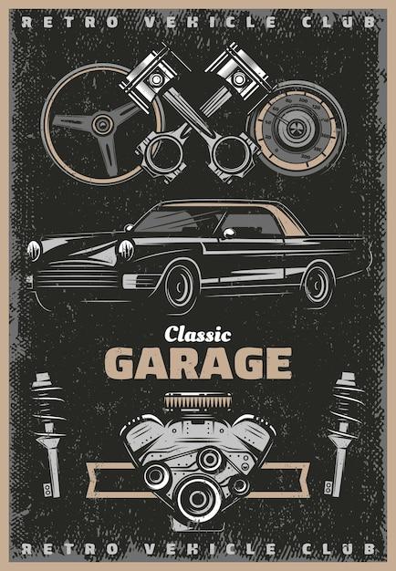 Cartel de servicio de garaje clásico de color vintage con amortiguadores de velocímetro de volante de pistones de motor de automóvil retro vector gratuito