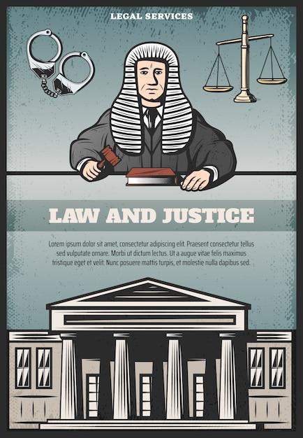 Cartel del sistema judicial de color vintage con inscripción juez tribunal esposas escalas de la justicia vector gratuito
