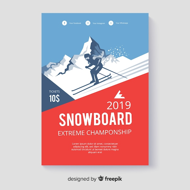 Cartel de snowboard vector gratuito