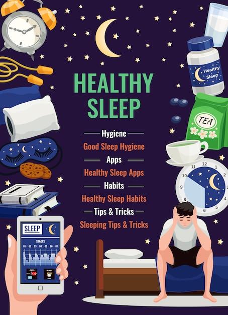 Cartel de sueño saludable con reloj despertador almohada ortopédica taza de elementos planos de té de hierbas en el cielo estrellado de noche vector gratuito