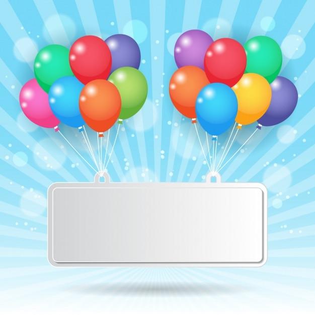 Cartel sujetado con globos de colores   Vector Gratis
