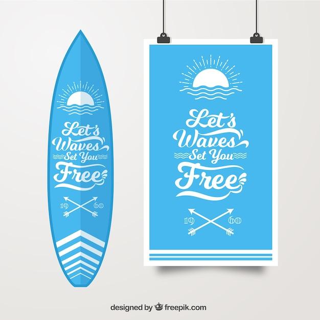 Cartel de surf con table de surf vector gratuito