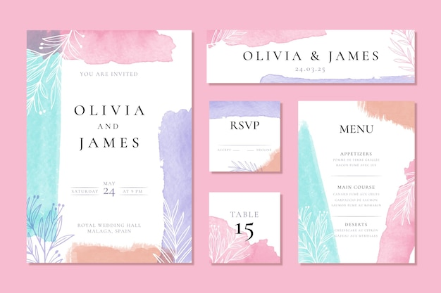 Cartel y tarjetas de papelería de boda en acuarela vector gratuito