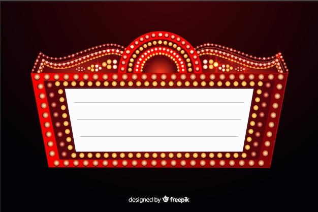 Cartel de teatro retro realista vector gratuito