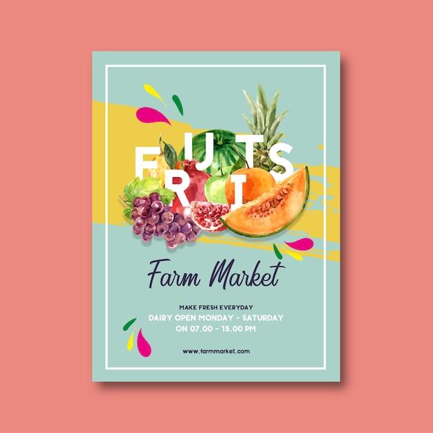 Cartel con tema de frutas, plantilla de ilustración acuarela creativa. vector gratuito