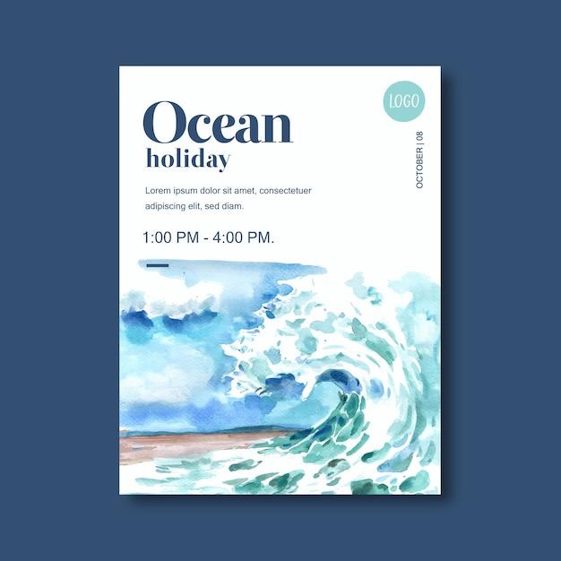 Cartel con tema de vida marina, plantilla creativa de ilustración de acuarela olas idea vector gratuito