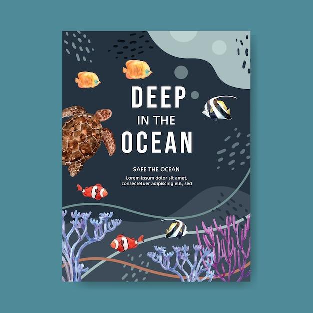 Cartel con tema de vida marina, tortuga y peces bajo la plantilla de ilustración de mar. vector gratuito