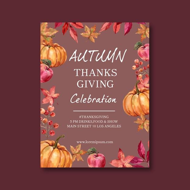 Cartel temático de otoño con calabaza vector gratuito