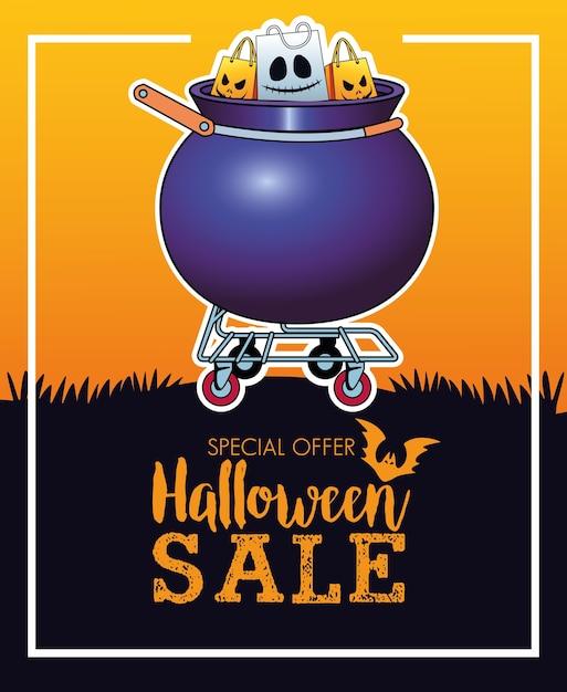 Cartel de temporada de venta de halloween con bolsas de compras en carro de caldero Vector Premium