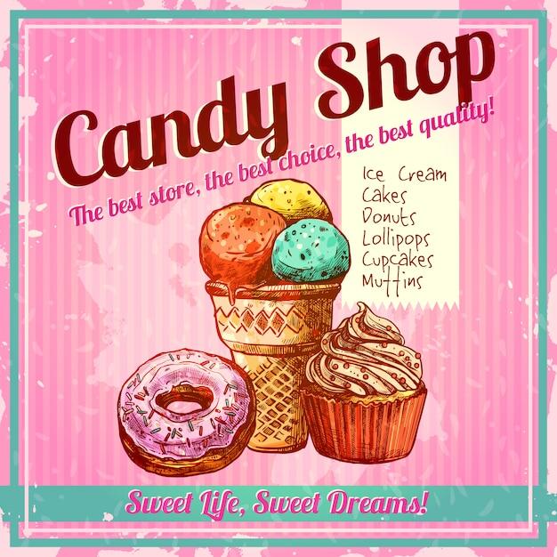 Cartel de la tienda de dulces vintage vector gratuito