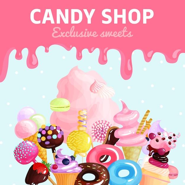 Cartel de la tienda de dulces vector gratuito