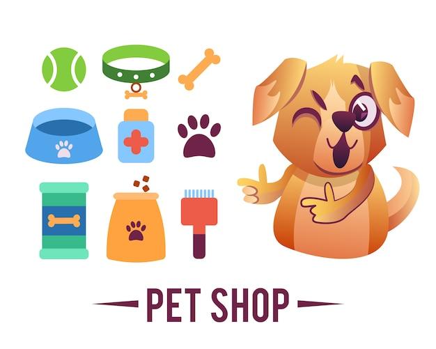 Cartel de la tienda de mascotas, perro con artículos para mascotas. vector gratuito
