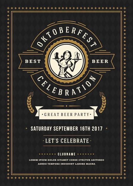Cartel de la tipografía retro celebración festival de la cerveza oktoberfest Vector Premium