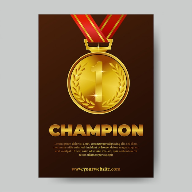 Cartel del trofeo de campeón Vector Premium