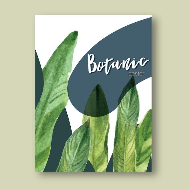 Cartel tropical de verano con plantas follaje exótico, acuarela creativa. vector gratuito