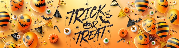 Cartel de truco o trato de feliz halloween con globos de fantasmas de halloween Vector Premium