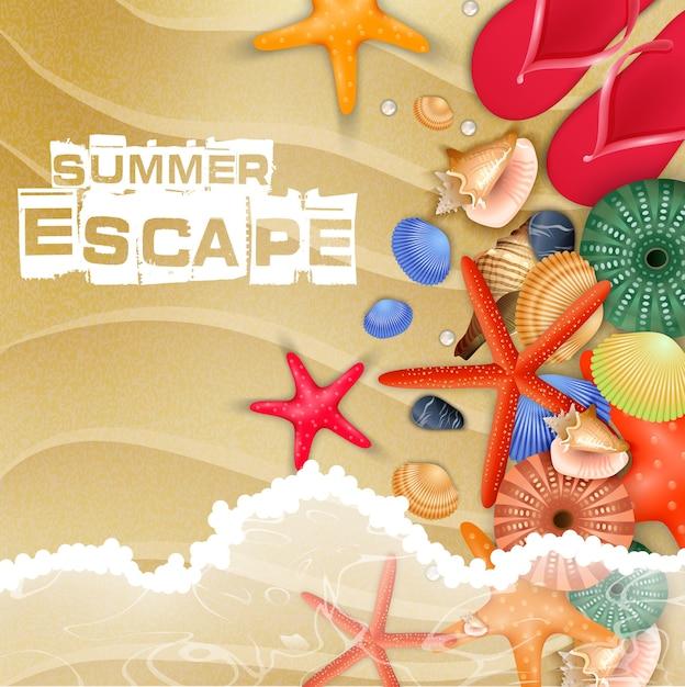 Cartel de vacaciones de playa de verano con vista superior Vector Premium