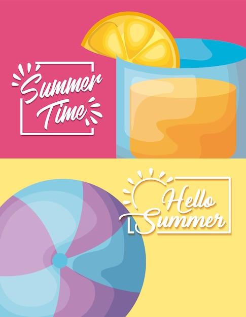 Cartel de vacaciones de verano con cóctel y globo. vector gratuito
