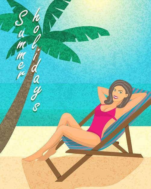 Cartel de vacaciones de verano, plantilla de impresión o banner vector gratuito
