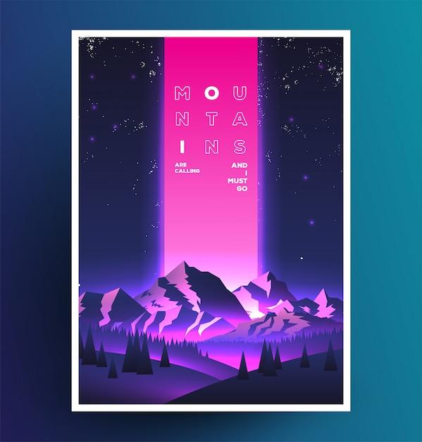 Cartel de vaporwave de montañas de noche Vector Premium