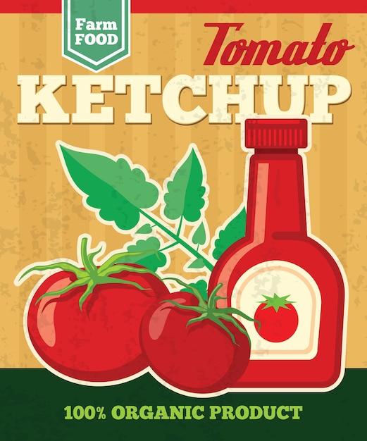 Cartel de vector de tomate en estilo vintage. vegetales frescos, salsa de tomate natural ilustración salsa vector gratuito