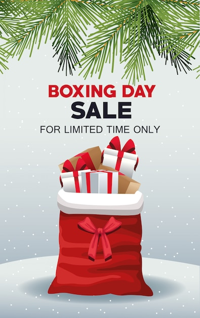 Cartel De Venta Del Día Del Boxeo Con Bolsa De Santa Claus Y