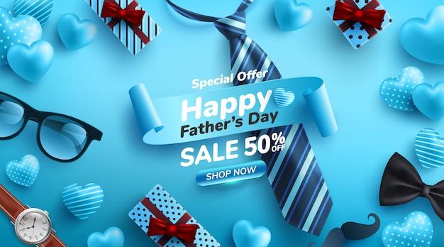 Cartel de venta del día del padre con flatlay de gafas, corbata, reloj y regalos para papá Vector Premium