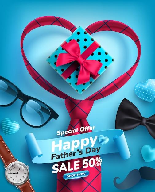 Cartel de venta del día del padre con forma de corazón y corbata en azul Vector Premium