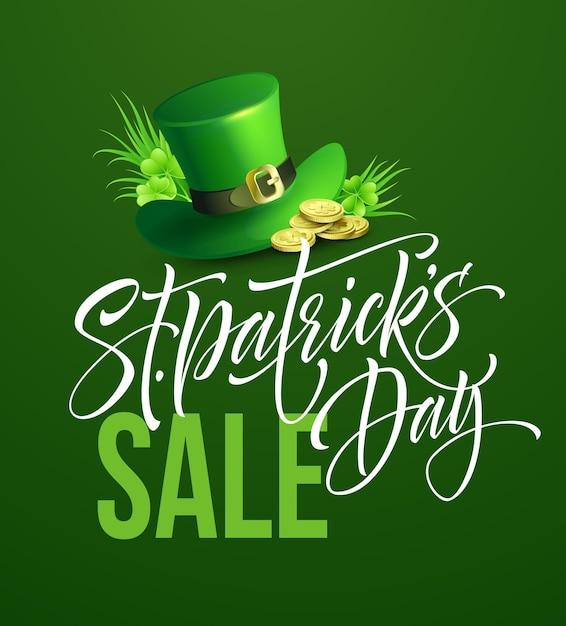 Cartel de venta del día de san patricio. plantilla de banner de letras. ilustración Vector Premium