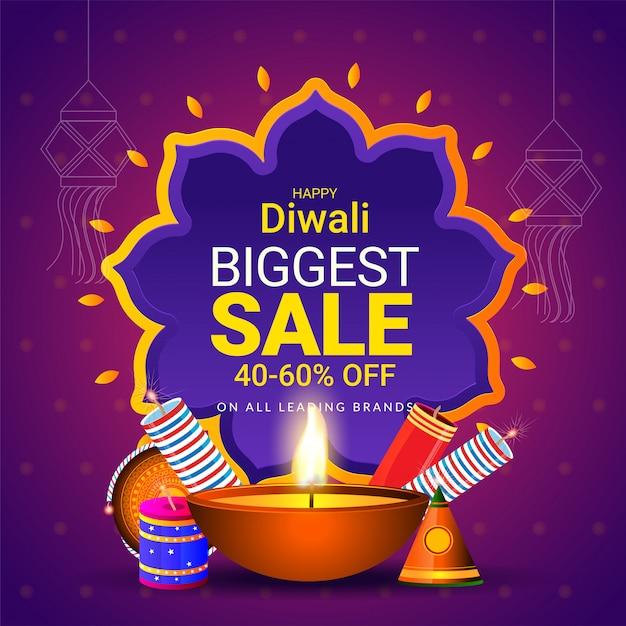 Cartel de venta o plantilla para el concepto de festival de diwali. Vector Premium