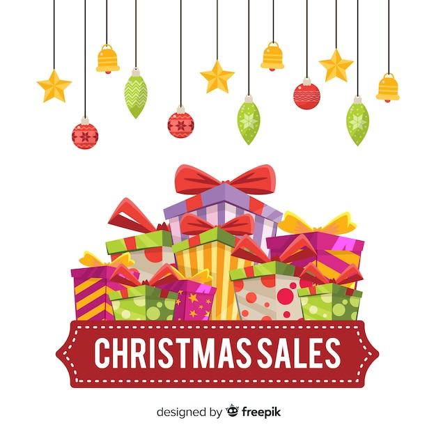 Cartel de ventas navideñas vector gratuito