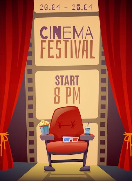 Cartel vertical del festival de cine vector gratuito