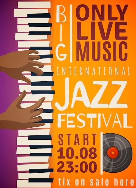 Cartel vertical del festival de jazz vector gratuito