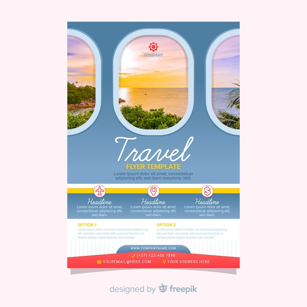 Cartel de viaje de plantilla con imagen vector gratuito
