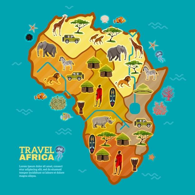 Cartel de viajes a africa vector gratuito