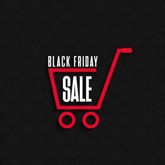 Cartel para viernes negro con carrito compra vector gratuito