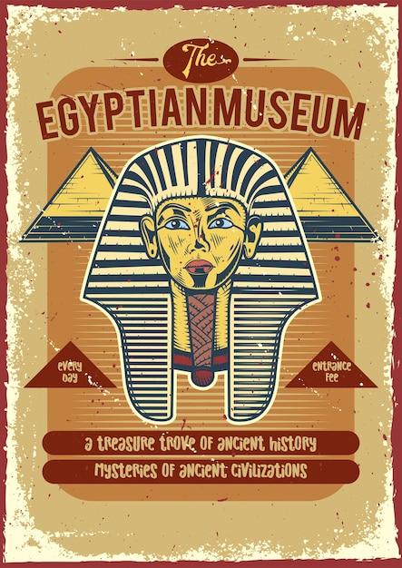 Cartel vintage de un faraón y pirámides vector gratuito
