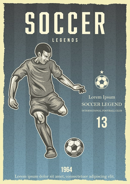 Cartel vintage de fútbol vector gratuito