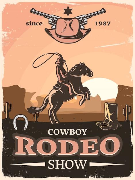 Cartel vintage del salvaje oeste con rodeo de vaquero que muestra descripciones desde 1987 y jinete con lazo vector gratuito