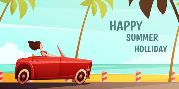 Cartel vintage de vacaciones en una isla tropical de vacaciones de verano con una niña conduciendo un automóvil retro rojo cabrio vector gratuito