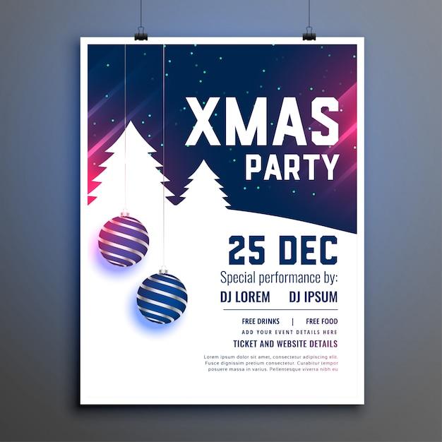 Cartel de volante azul hermoso de fiesta de navidad vector gratuito