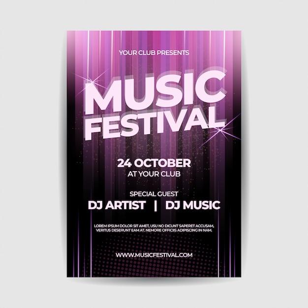 Cartel del volante del festival de música Vector Premium