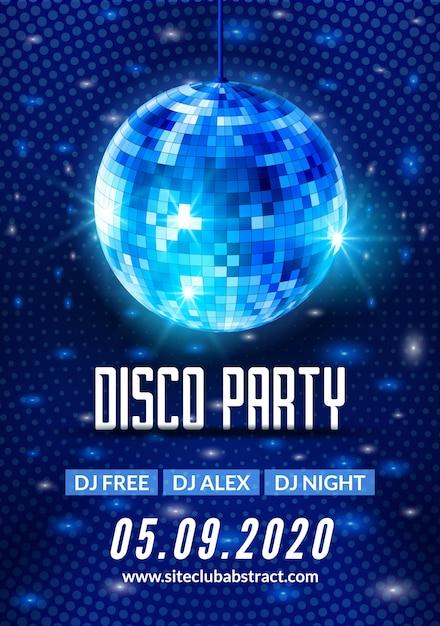 Cartel de volante de fondo de fiesta de baile disco. diseño de plantilla de fiesta de vector. música ligera de bola de discoteca Vector Premium