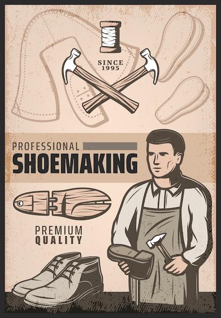 Cartel de zapatería de color vintage con zapatero reparaciones martillos bota de madera y carrete de hilos vector gratuito