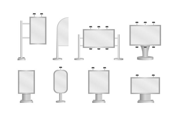 Cartelera grande en blanco con luces blancas sobre fondo blanco. un conjunto de plantillas realistas. Vector Premium